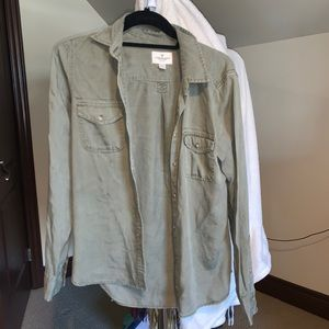 Army Green American Eagle Button Down